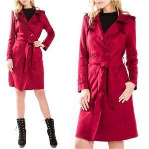 Jackets & Blazers - BURGUNDY SUEDE TRENCH COAT
